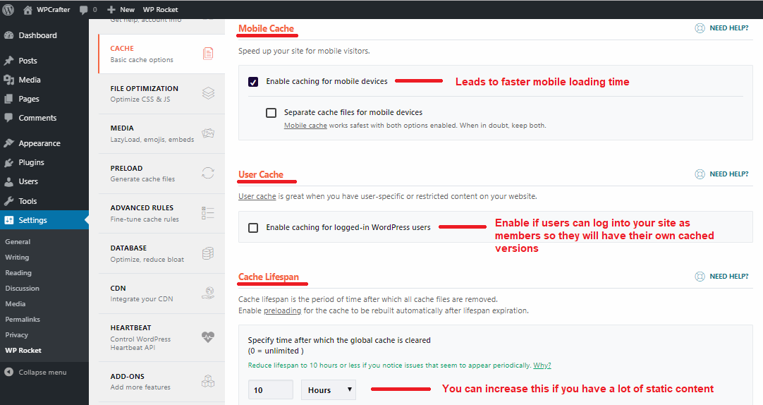 WP Rocket basic cache rules