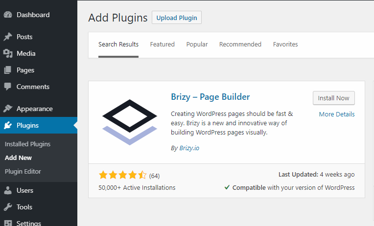 installing Brizy free plugin