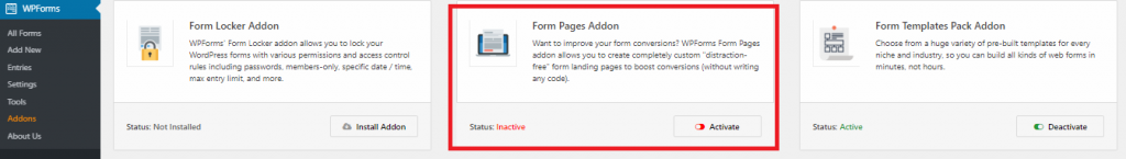 install and activate form pages addon