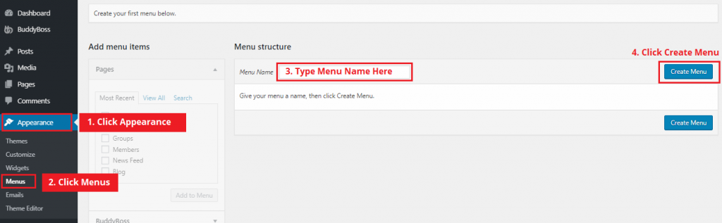 how to create a menu