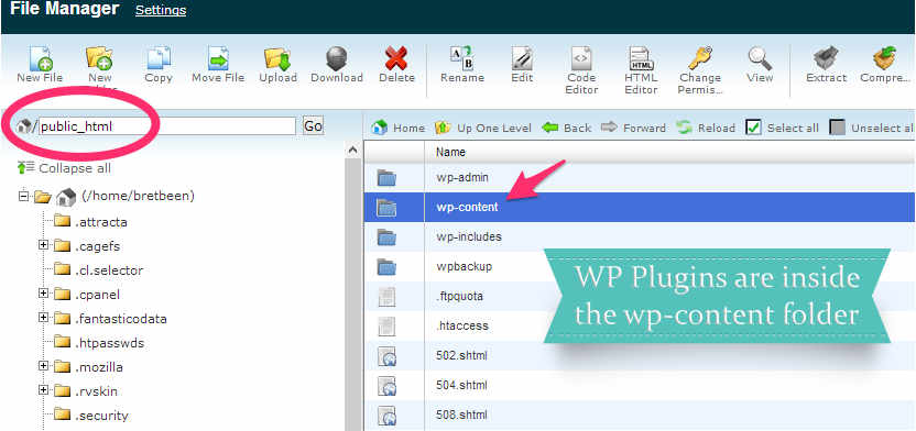 File manager to access plugins