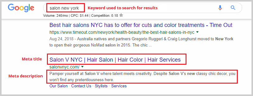 google search result example