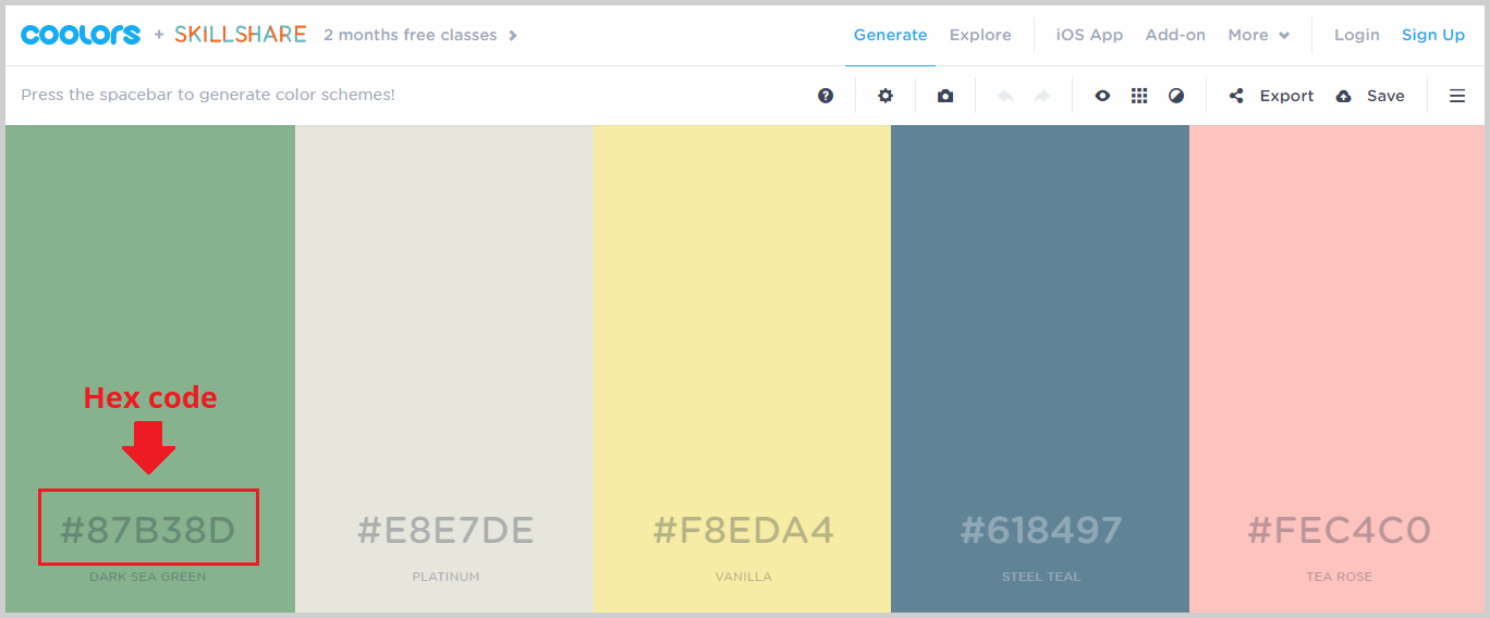 hex codes of color palettes