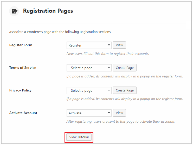 link to a tutorial on setting up registration pages