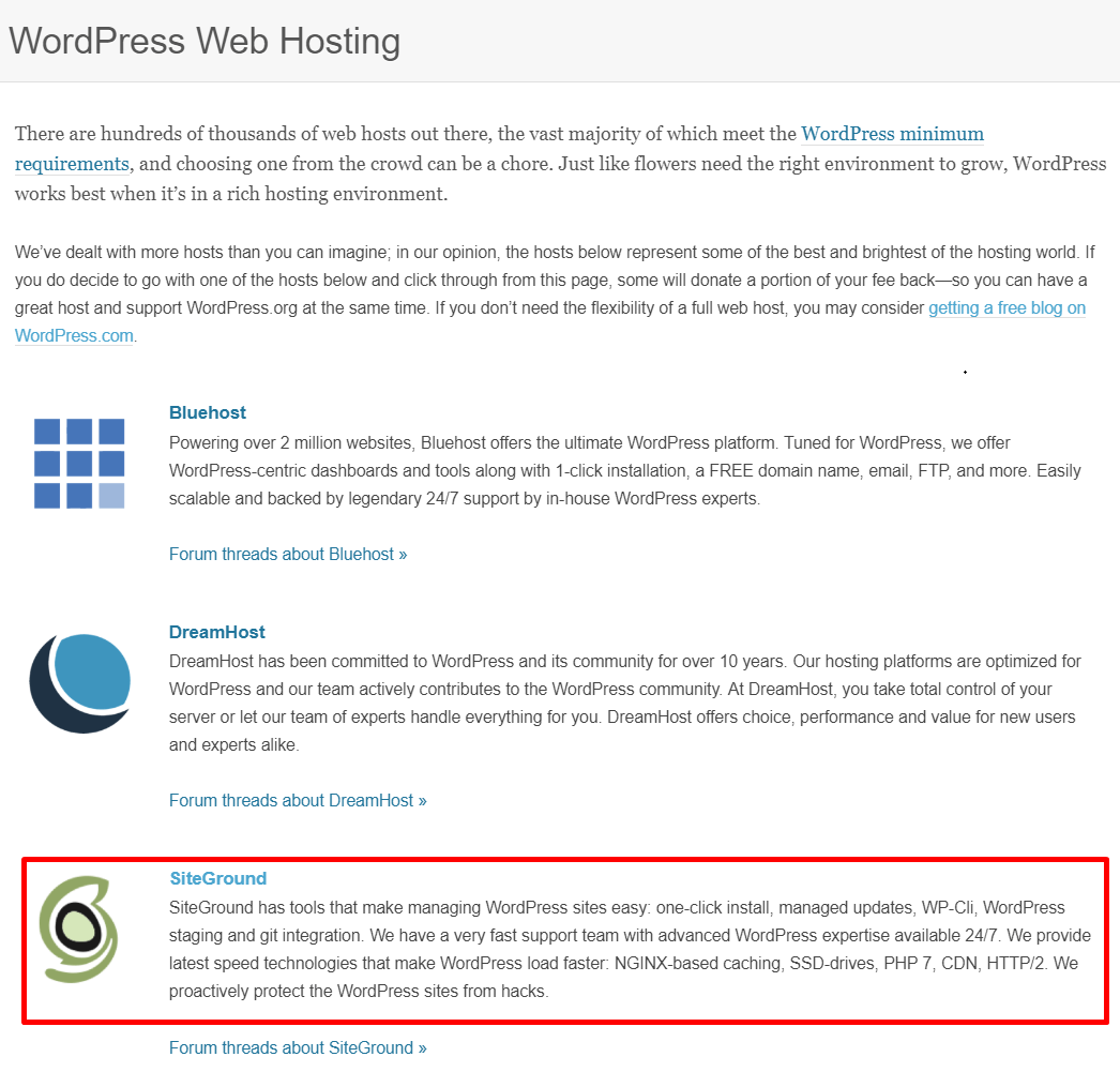 SiteGround Recommended Hosting Company by WordPress