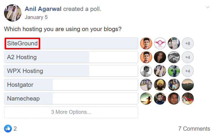 SiteGround Tops Facebook Group Survey 3