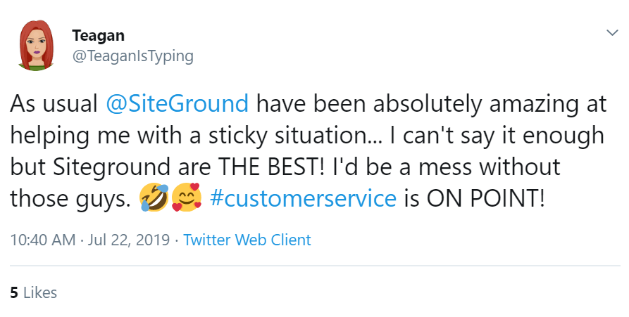 SiteGround Tweet Customer Support 1