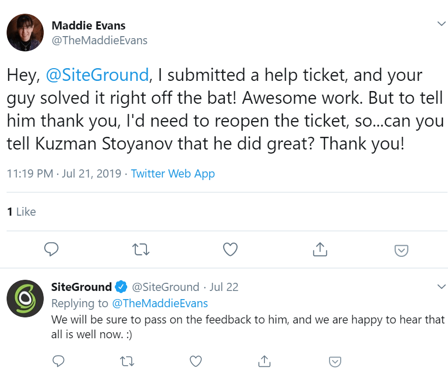 SiteGround Tweet Customer Support 3