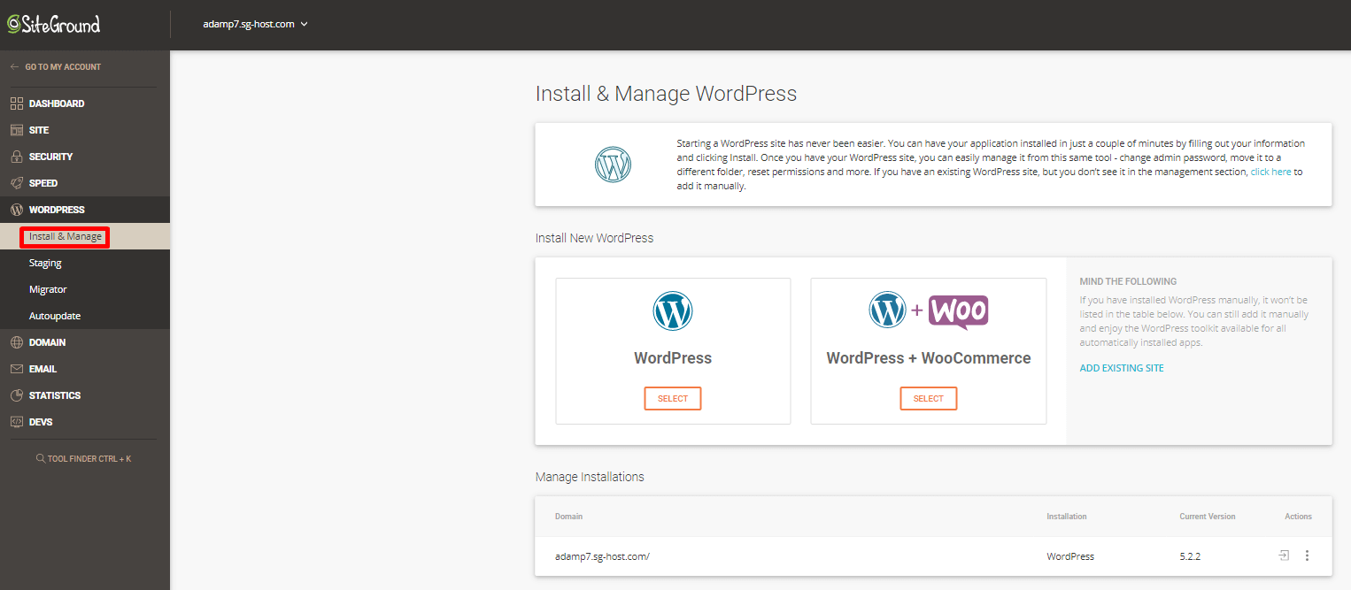 SiteGround WordPress Installation Manager