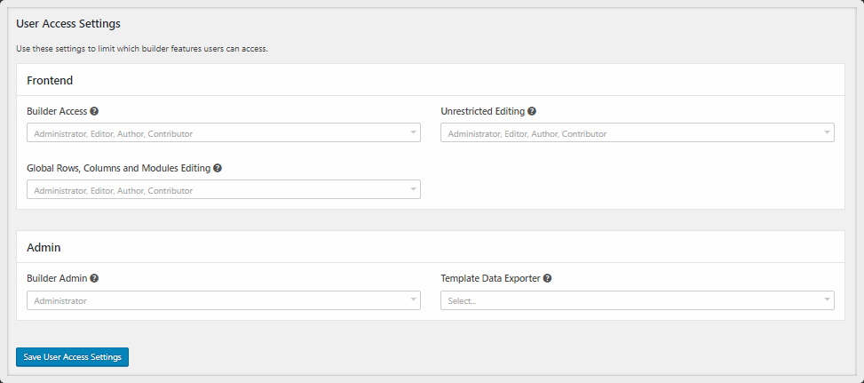 user access settings of Beaver Builder Pro